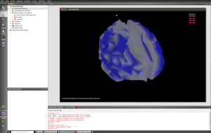 Screenshot from Necessitas QT Creator with the smartphone brainscanner running.